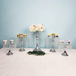 5 PCS Silver/Gold cake stand with crystals
