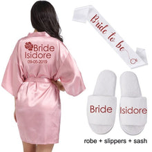 Load image into Gallery viewer, Bride Robe Personalized - Bride Robe Cotton - Mrs Robe - Mrs Gifts - Bridal Shower Gift for Bride Getting Ready Robe