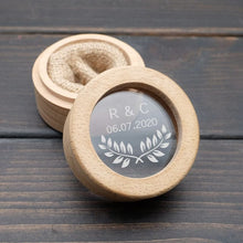 Load image into Gallery viewer, HANDMADE Custom wedding Ring Bearer Box  Personalized Initials & Date