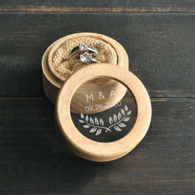 HANDMADE Custom wedding Ring Bearer Box  Personalized Initials & Date