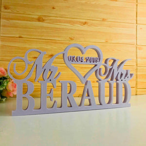 Personalized White Wedding Table Sign  with Last Name and wedding date