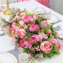 Load image into Gallery viewer, rose pink Artificial Floral Silk Hydrangea Arch Runner Table Flower Row Simulation Rose for Wedding Party Road Lead Flower Decoration worldwide delivery to usa uk australia