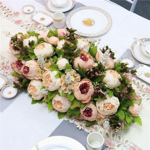 Luxury DIY wedding decor table artificial flower runner table centerpiece