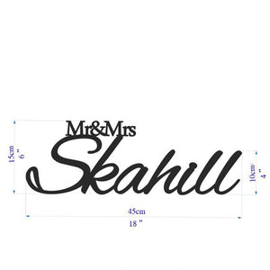 Personalized white sign Mr and Mrs