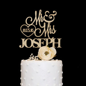 Customized wooden acrylic wedding cake topper Mrs Mr