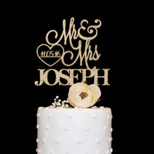 Load image into Gallery viewer, Customized wooden acrylic wedding cake topper Mrs Mr