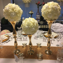 "Load image into Gallery viewer, Gold 50cm/20"" Metal Candlestick Flower Vase  Table Centerpiece  Flower Wedding Decoration - WeddingStory"