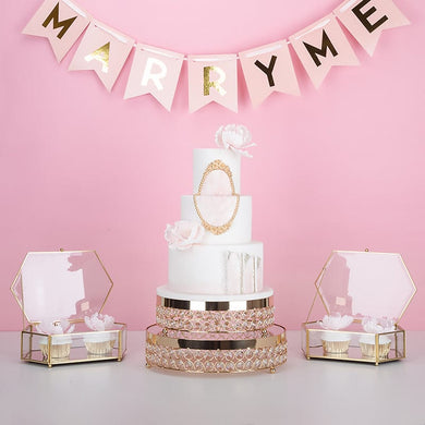 NEW Gold Crystal mirror stand for cake cupcake  dessert wedding party decoration - WeddingStory
