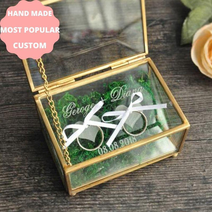 POPULAR UNIQUE RING BOX PERSONALIZED RING CEREMONY HOLDER NAMES AND DATE CUSTOM DIY WEDDING ACCESSORIES WORLDWIDE SHIPPING CHEAP WEDDING BUDGET WEDDING