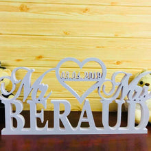 Load image into Gallery viewer, Personalized White Wedding Table Sign  with Last Name and wedding date