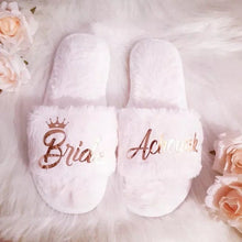 Load image into Gallery viewer, Customized coral Fleece slippers Team Bride/Bride to be/ Bridesmaid gift/ Bachelorette Hen party gifts