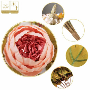 Quality Silk Peony Bouquet Silk Wedding Flowers 13 Heads Artificial Peonies Bouquet For Bridal Bridesmaids DIY Flowers Centerpieces worldwide shipping usa canada australia uk europe