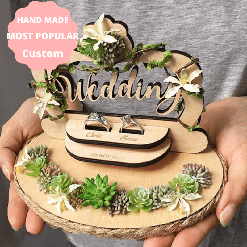Handmade Personalized  Wedding ceremony rustic ring pillow