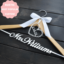 Load image into Gallery viewer, WEDDINGSTORYSHOP rustic personalized hanger custom name wedding date boutique wedding sjop online worldwide delivery wedding