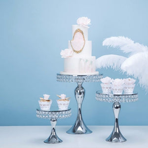 NEW Silver crystal cake stand cupcake dessert banquet table centerpiece wedding party - WeddingStory