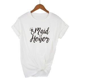 Bridal Bachelorette Party Women's T-shirts Bride Squad Maid Of Honor Casual Wedding Print