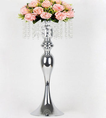 silver flower/candle holder crystal set