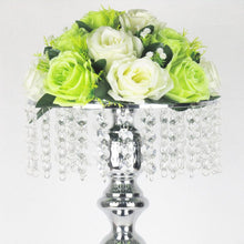 Load image into Gallery viewer, silver flower/candle holder crystal set
