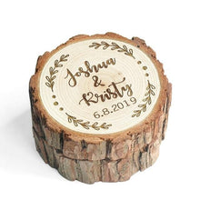 Load image into Gallery viewer, Wood Wedding Ring Box Proposal Ring Box Rustic Ring Bearer Pillow Engagement Gift Country Wedding Valentines Gift Wedding Decor wood #rusticwedding #rustic rustic wedding theme