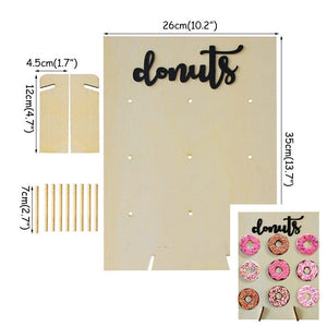 Wooden Donut Wall Stand Doughnut Holder Baby Shower Kid Birthday Party Decor Donut Party Decoration Wedding Event Party Supplies