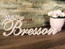 Load image into Gallery viewer, Mr & Mrs Sign - Custom Wedding Name sign - Mr and Mrs Wood Name - Personalized Last Name Sign - Sweetheart table Centerpiece Sign 18-24 inch
