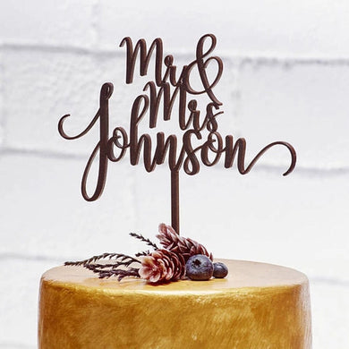 Mrs Mr Custom rustic cake topper