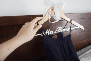 Personalized  Bridal Wedding Hanger With Bow