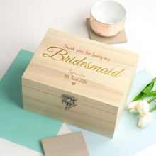 Load image into Gallery viewer, personalize name text wooden wedding bridesmaid proposal Memory bespoken Box Keepsake gift Boxes birthday storage container bridal gifts