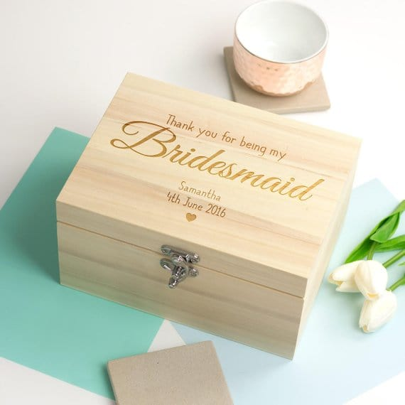 personalize name text wooden wedding bridesmaid proposal Memory bespoken Box Keepsake gift Boxes birthday storage container bridal gifts