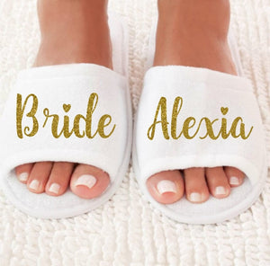 Personalized comfy hen party slippers. NEW Personalized title names wedding  bridesmaid bride SPA ... 6b02d796a1eb