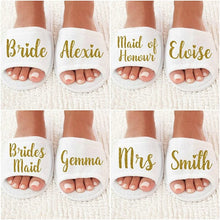 Load image into Gallery viewer, NEW Personalized title names wedding bridesmaid bride SPA slippers - WeddingStory