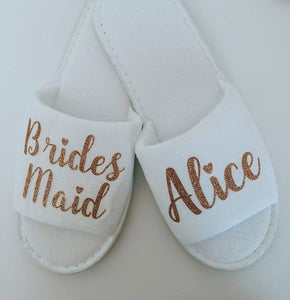 NEW Personalized title names wedding bridesmaid bride SPA slippers - WeddingStory
