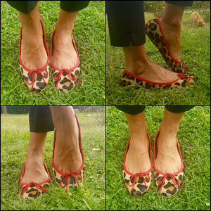 JB BALLERINA LEOPARD COWHIDE PONY HAIR EFFECT AND RED