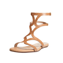 Sofia leather coco nude Gladiator flat sandal