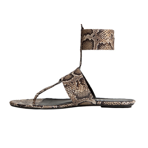 Sandra Flat Sandal - Leather Printed Natural Python