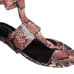 Sandra Flat Sandal - Leather Printed Red Python
