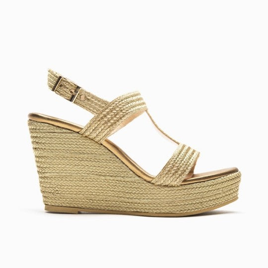 Esther Wedge - Gold is one of Barcemoda's most popular ladies wedge heels.