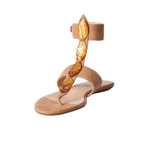 Carla Flat Sandal - Mink Suede Amber Stones is one of Barcemoda's prettiest ladies flat sandals.