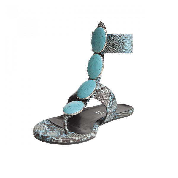 Carla Flat Sandal - Blue Python Turquoise Stones is one of Barcemoda's most colorful ladies flat sandals.