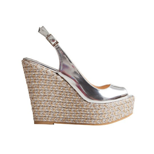Isabel Wedge - Silver Leather is one of Barcemoda's classic ladies wedge heels.