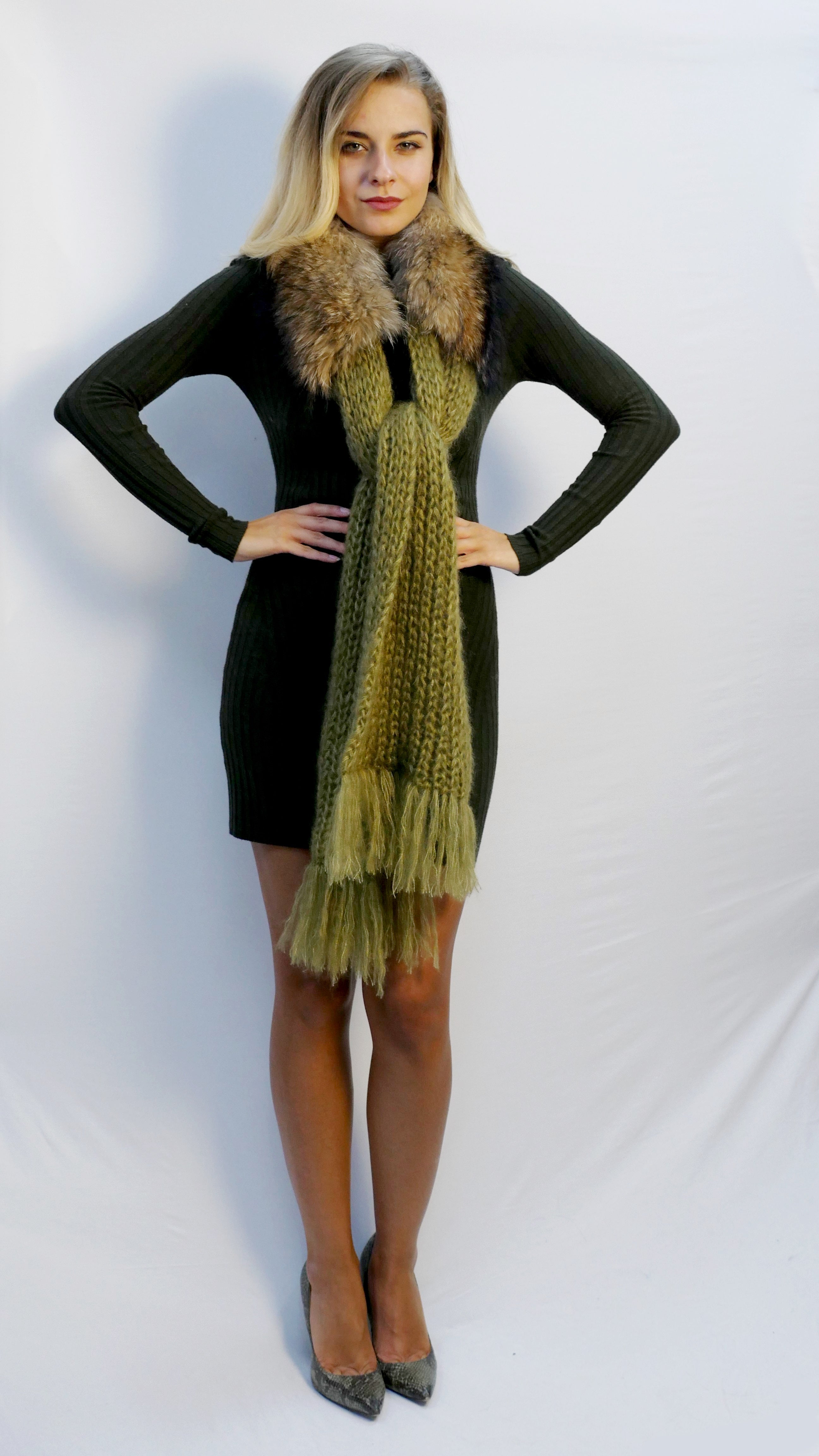 winter scarf moss green with fur trim and fringe