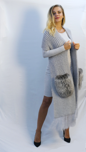 knitted shawl in soft gray mohair with bulky silver fox fur pockets and fringes