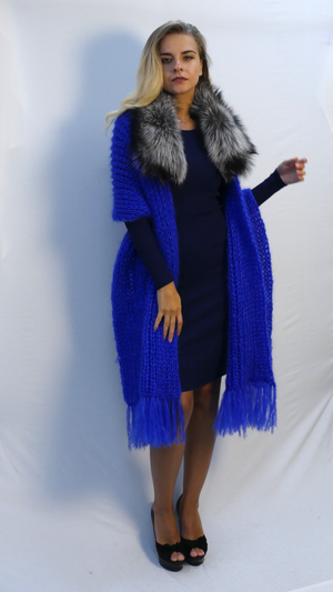 oversized fringe shawl royal blue with fur trim |balnket scarf|cashmere wrap