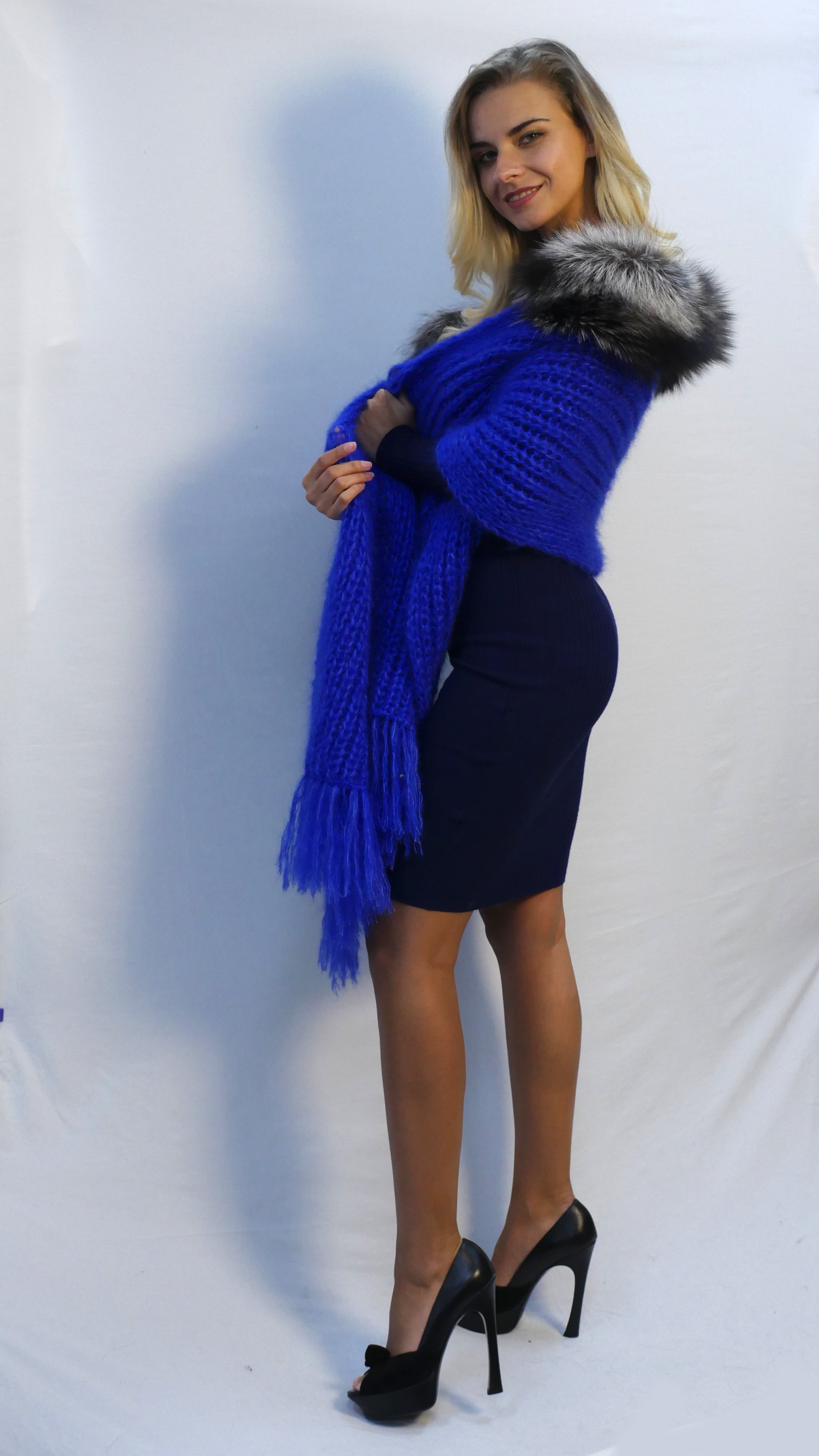 handknitted shawl in soft royal blue mohair with silver fox fur trim and fringes