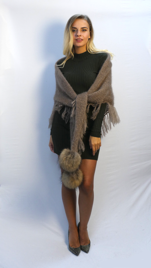 oversized fringe scarf in beige mohair with two fur pom poms