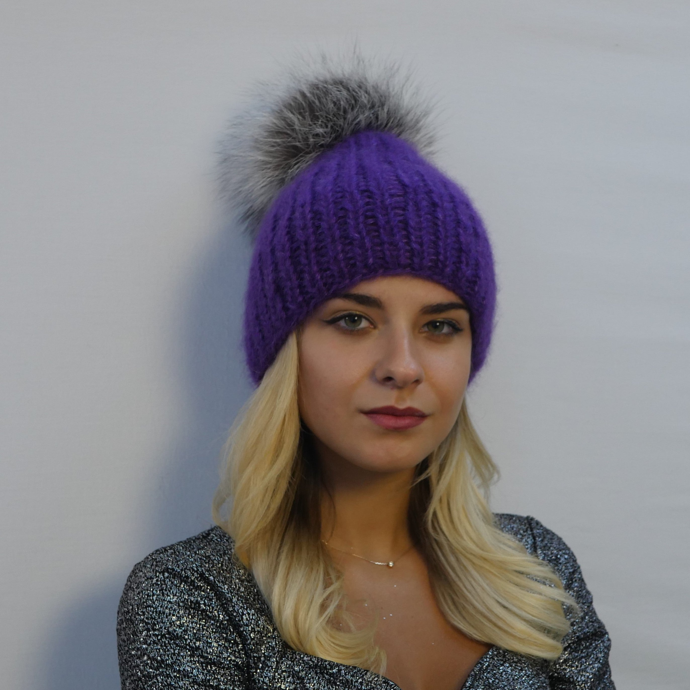 beanie hat ribbed handmade in violet mohair with a large silver fox fur pompom