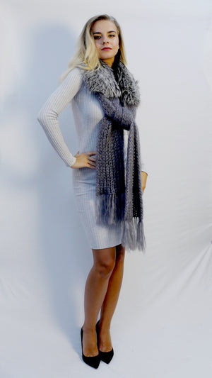 handknitted scarf in soft dark gray mohair with silver fox fur trim and fringes