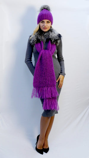 winter scarf fuchsia with fur trim and fringe