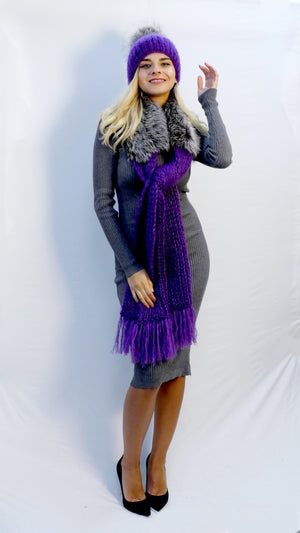 winter scarf violet with fur trim and fringe