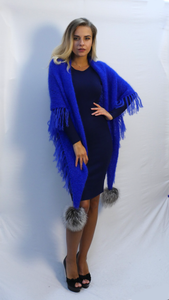 oversized fringe scarf in royal blue mohair with fur pom poms